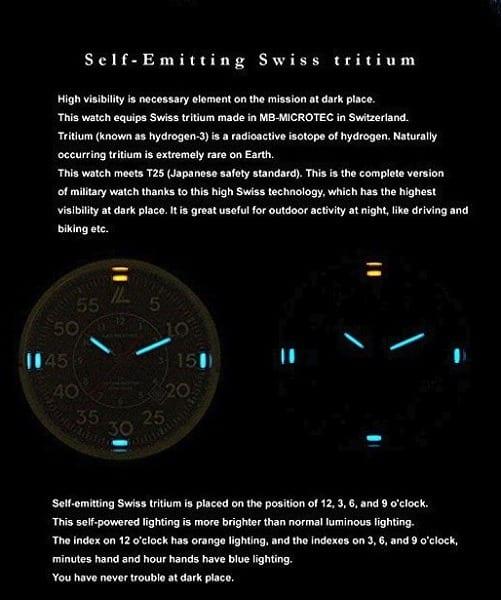 Imagen de un Reloj suizo con tritio