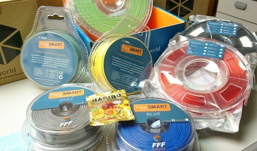 filamentos de FFFworld: Flexible, PETG, ABS, metálico y PLA