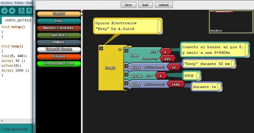 Captura de pantalla del complemento Ardublock.