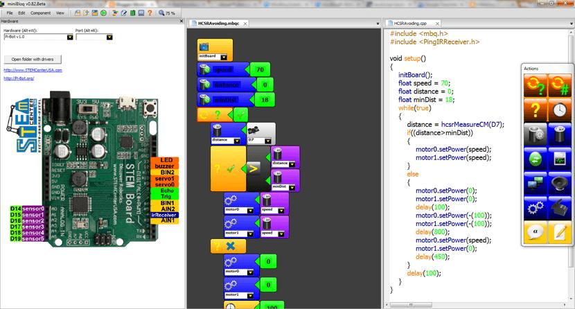 Captura de pantalla del programa Minibloq