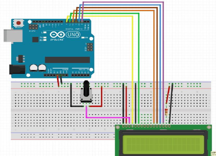 Esquema para conectar una pantalla LCD y Arduino