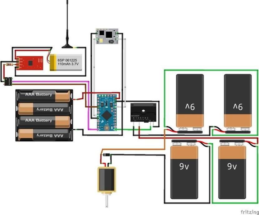 Diagrama del circuito con Arduino para martillo de Thor