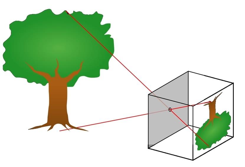 Imagen invertida al pasar la luz a través de agujero