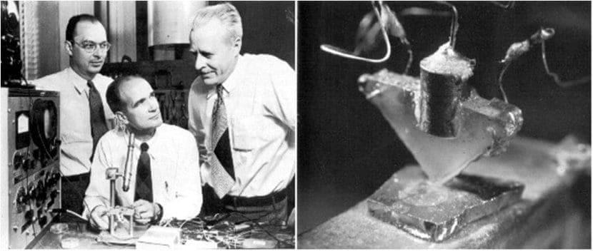 Bardeen Brattain y Shockley con el transistor de contacto