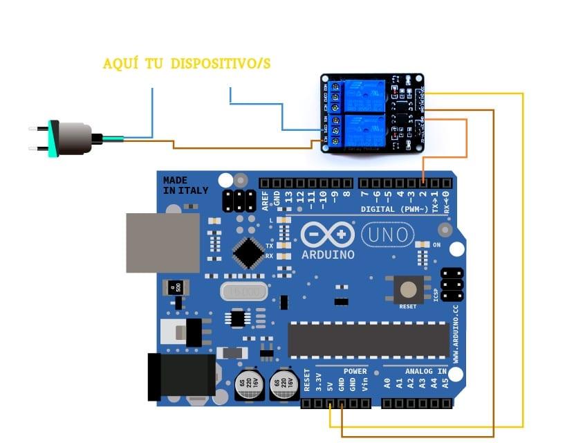 diagrama de conexion con Arduino y el relé
