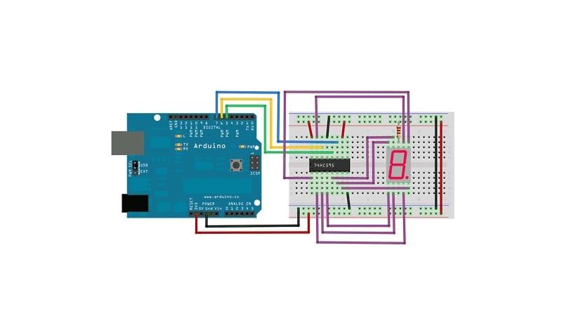 Arduino con el 74hc595