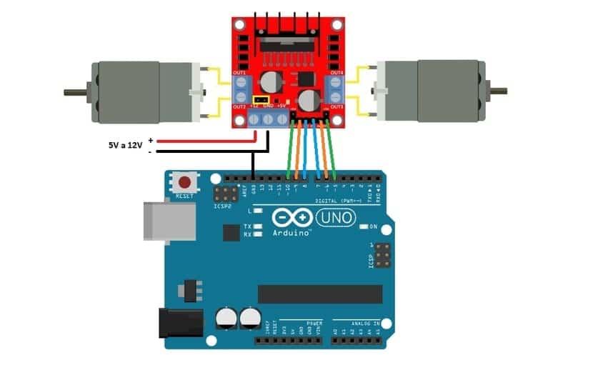 diagrama circuito de l298n con Arduino