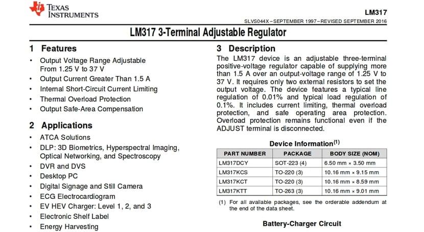 Datasheet del LM317 (captura)