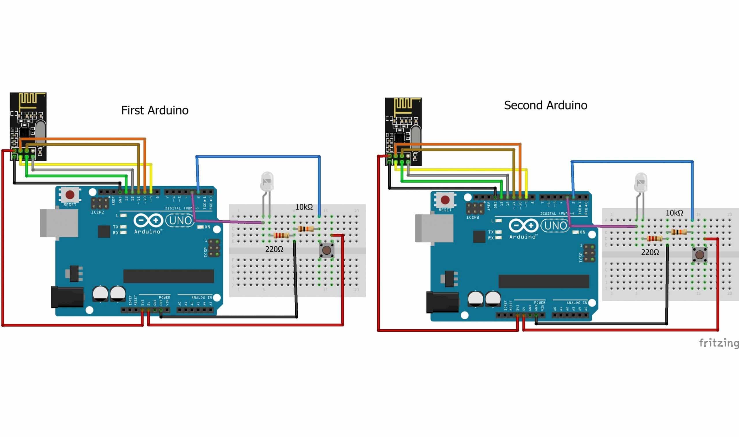 2 NRF24L01 con Arduino (circuito)