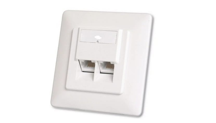 Roseta de pared RJ45 doble