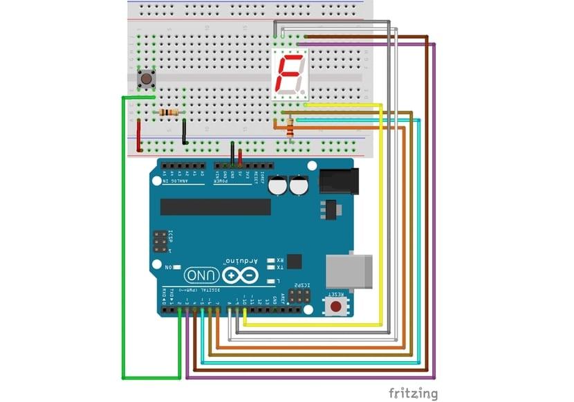 display 7 segmentos y Arduino conectado