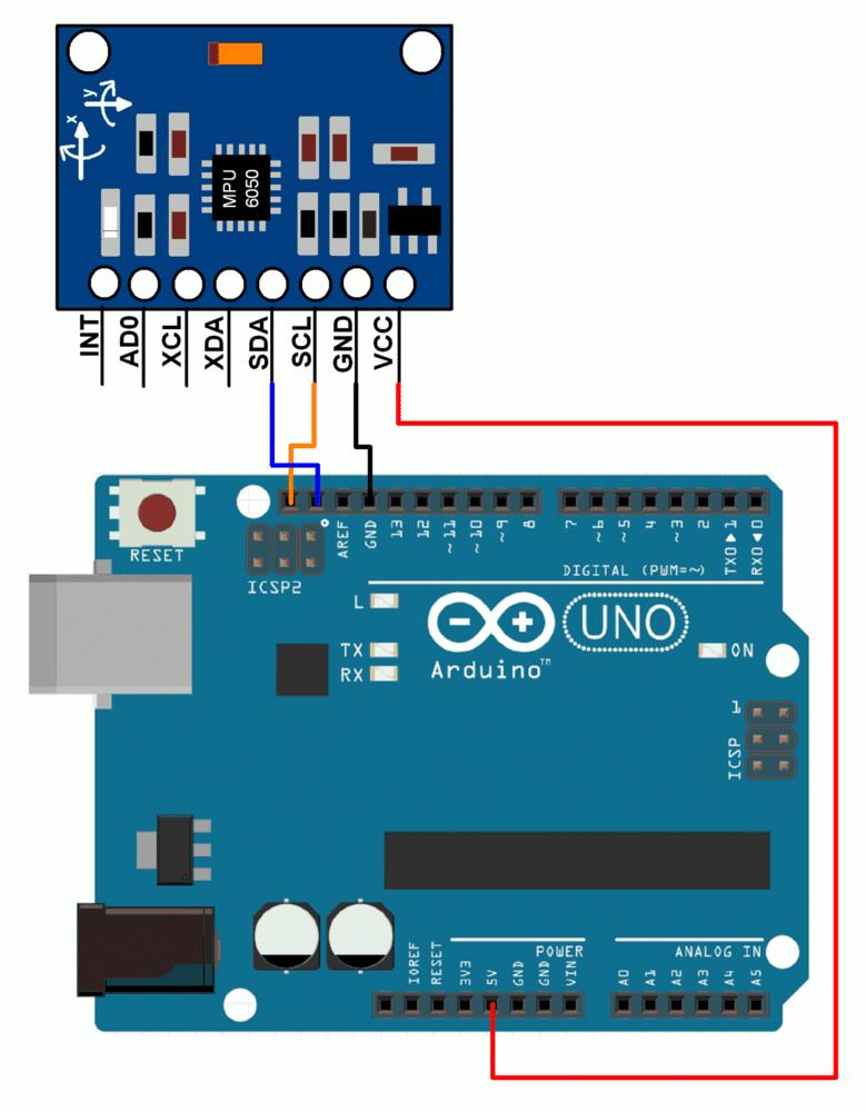 conexión de Arduino y MPU6050