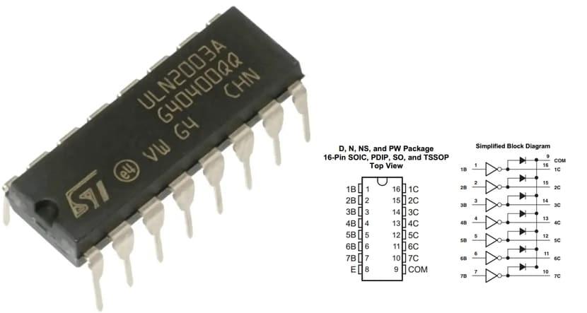 ULN2003A chip pinout y circuito