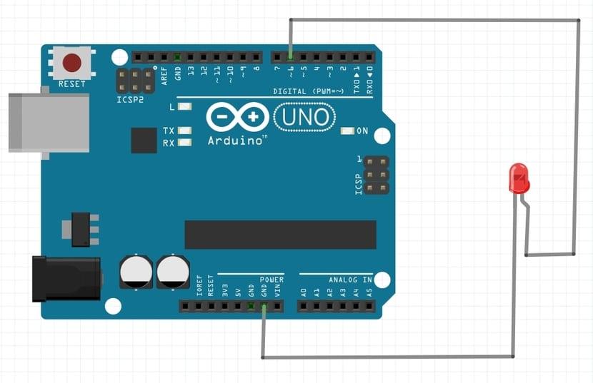 esquema Arduino PWM con LED