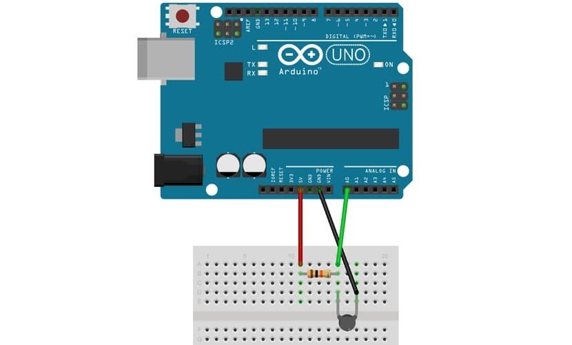 esquema de Arduino con termistor