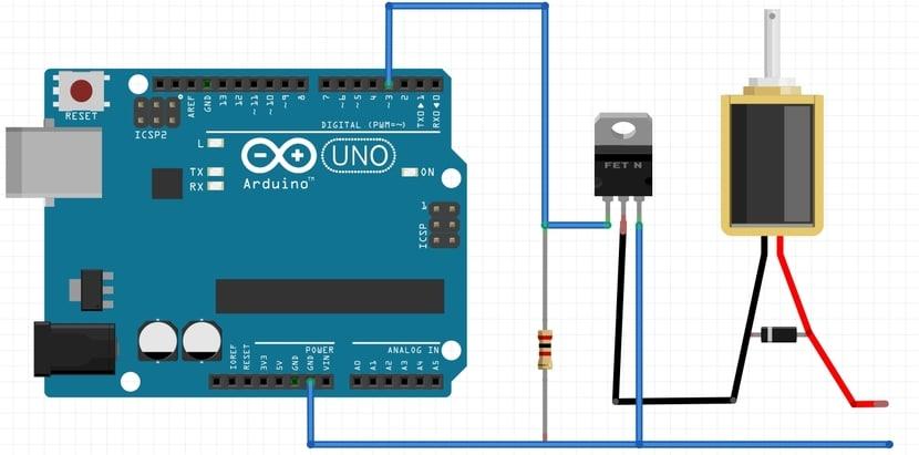 esquema electroiman con Arduino