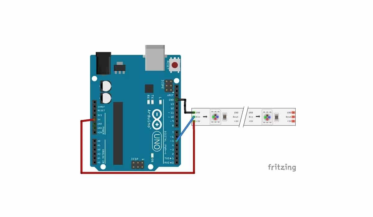 Arduino UNO con esquema de WS2812B