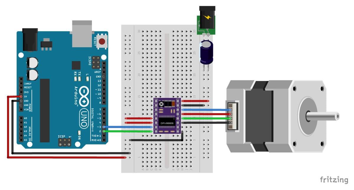 esquema de motor paso a paso Nema 17 y Arduino