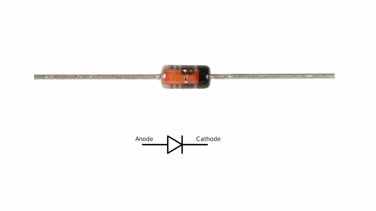 simbolo y pinout del diodo 1n4148